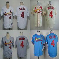 Wholesale Men s Baseball Yadier Molina Jersey St Louis Cardinals Jersey Sports Jerseys Embroidery Logos White Cream Grey