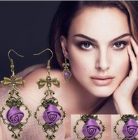 Wholesale vintage elegant drop earrings with purple lace flower handmade jewelry for fashion party earring rose flower HT88