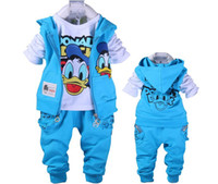 american duck - baby Donald Duck Baby clothing boys and girl Set sport Suit vest T Shirt Pants baby Summer Sets baby clothing