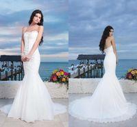 beach bal - 2016 Summer Beach Garden Wedding Dresses Swethearty Sleeves Mermaid Beads Crystal Bridal Long Gowns Bal Dress Vestido De Novia Classica ZYY