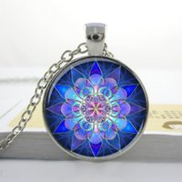 Wholesale Mandala Pendant Mandala Necklace Mandala Art Necklace Soothing Blue Mandala Pendant Glass cabochon Necklace Yoga Jewelry
