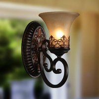 Wholesale Vintage Country Wall Lamps Light E27 E26 Black Acrylic Backplate Opal Glass Bed Living Room Wall sconces