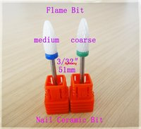 Wholesale 1 medium Flame Bit new nail art salon electric drill Ceramic nail file drill bit for nail art