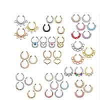 Wholesale 1pc Nose Piercing Septum Fake Ring Clip On Hanging Nose Ring Multi Crystal Piercing