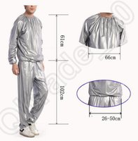 sauna suit - 100PCS LJJH1275 Unisex slimming sportswear Sauna Suit Cloth Top Pants Gym Workout Yoga Exercise Slimmer Boxing