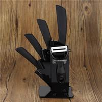 acrylic kitchenware - Hot Sale Black Blade Ceramic Knife Set With Acrylic Knife Holder Kitchen Knives Peeler Holder kitchenware