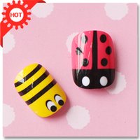 bee patch - Cartoon little bees small ladybug nail art false nail patch small short design finished products sclerite