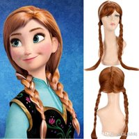 Wholesale S Girl kids Cosplay Frozen Princess Wigs Blonde Long Weaving Braid Costume Cosplay Party Wigs