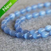 Wholesale New hot sale mm Blue Glass beads Mexican cat eye Jasper granular loose Women girls gift inch Jewelry making design