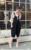 Wholesale summer maternity women pant suits fashion loose cotton casual women suspenders maternity jumpsuits high waist pant suit