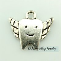 fairy charms - 40pcs x18mm Tooth Fairy Charms Pendant Antique Bronze Silver Zinc Alloy DIY Retro Jewelry Accessories