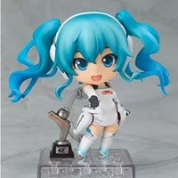"Cheap 4"" 10cm Cute japanese anime sex dolls Nendoroid Hatsune Miku Racing Miku Ver #414 action doll Collectible Model toy for children"
