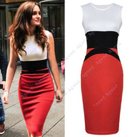 ladies fashion wear - New Fashion Celeb Party Wear Splicing Color Ladies Red Pencil Evening Slimming Panel Tea Dress