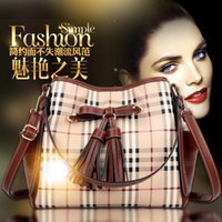 fashion women leather hand bags - 2015 New Brand Fashion Designer Lady Plaid Hand Bags with Tassel Vintage High Quality Cheap Pu Leather Women Messenger Bags Freeship BGA038B