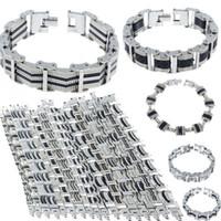 achat en gros de bracelets bracelet en argent-16 Styles Hommes Chaîne Bracelet Bracelet Bracelet en acier inoxydable Bracelet en caoutchouc Hommes Tone Hommes Bijoux en gros Livraison gratuite
