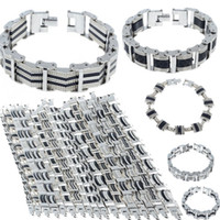 Wholesale 16 Styles Mens Chain Link Wristband Bangle Cuff Stainless Steel Rubber Bracelet Silver Tone Men Jewelry Free Ship