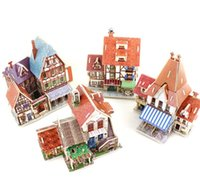 Wholesale exotic styles country famous building model kids wooden puzzles D famous model building toy adult child kid puzzles