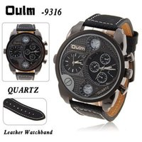 Wholesale Oulm Adventure Military Men s Watch with Dual Movt Function Black mm Leather Band