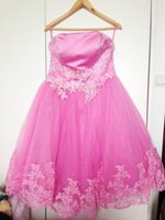 Wholesale Special Offer cleaning Cheap Strapless Short Plus Size Style Pink Lace Lovely Party Dress Graduation Dresses or Prom Dress
