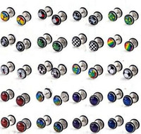 barbell pictures - 100PC ES51042 free ship basic stainless steel body jewelry accessories mm ends enamel picture men barbell flat ear plugs ear stud