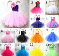 Wholesale New Cute Baby Tutu Dress Infant Toddler Girl s Layer Crochet Ballet Strpas Tutus with quot Peony Flower Kids Tulle Party Tutus Dress Piece