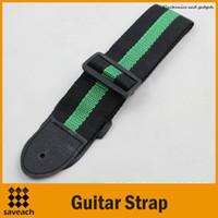 Alta calidad - Nueva correa de guitarra de nylon tejida ajustable con acabados de cuero para guitarras folk acústicas eléctricas