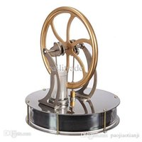 Wholesale Cool Engine - Temperature Stirling Engine Motor Model Cool Silver Bottom Gold Flywheel No Steam Education Toys Child Gift Free Shipping