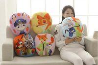 Wholesale 2016 Hot Cute Zootopia Stuffed Animals Back cushion backing block Plush Cushion Judy Hopps Nick Wilde Figure Plush pillow