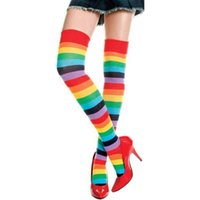 ladies knee socks - Lovely OVER KNEE SOCKS Rainbow Striped High Thigh Ladies Long Women Stripey rainbow Stocking long rainbow gay socks