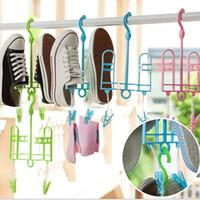 plastic hanger - Multifunctional Shoes Hangers Windbreak Anti Skid Drying Rack Hood Socks Clips Space Saver Shoes Rack Household Gadgets JE0148 Smileseller