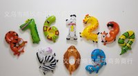 Wholesale Educations Colorful Number Animals Aluminium Coating kids toys Balloons cartoon number foil balloon Holiday birthday Party Decoration