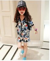 Wholesale Retail Baby girls Goofy sport suits coat pants shorts kids clothing set