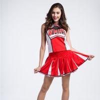 baseball play set - S XL American Cheerleader Baseball Basketball Costumes Set Dance Play Women Clothing Carnival Red Sleeveless T Shirts Mini Skirts