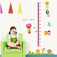 Wholesale Children Height Measurement Sticker - Removable PVC Cartoon Animal Height Wall Sticker Funny Kids Children Grow Up Measuring Wall Bedroom Decals Measurement Mural