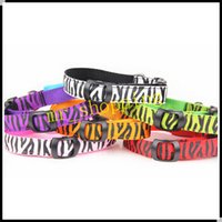 big nylon dog collar - LED Light Up Dog Cat Collar Fashional Zebra Print Adjustable Nylon Collar Big Small Medium sized Dogs Flashing Lighting Safety Collars