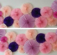 Wholesale 40cm inch Tissue Paper fans Flowers pom poms balls lanterns Party Decor Craft For Wedding Decoration multi option