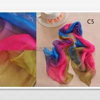 Wholesale Autumn Gradient Chiffon Scarf Soft Colors Match Silk Scarves Women Fashion Shawl Long Wrap cm Mix Colors