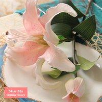 artificial tiger lily - Stem Heads PU Foam Tiger Lily Real Touch Flower Artificial BIG Flower Lily Wedding Flowe High Quality