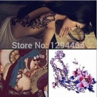 adult body paint - Large Temporary Tattoos For Adults Women Models Back Peony Body Painting Tattoo Flowers Waterproof tatoo sticker