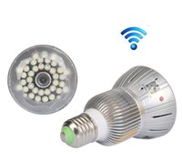 Wholesale Wifi camera TF card E27 Bulb Lamp CCTV Security Hidden Nanny DVR Viewed by iphone or Android Smartphone