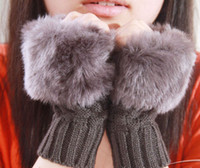 Wholesale 50pcs Hot Sale Winter Faux Rabbit Fur Gloves Lady s Warm Touch Screen Computer Fingerless Gloves Wrist Half fingers Mittens M1691