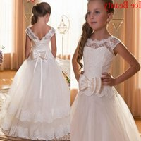 Wholesale Cheap Pink Kids Prom Dresses - 2016 White Floor Length Flower Girl Dresses For Weddings Cap Sleeves Lace Tulle Kids First Communion Dress 2016 Cheap Puffy Prom Dress