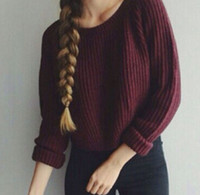 bell jumpers - 2015 Women Long Sleeve Loose red wine Cardigan Knitted Sweater Jumper Knitwear Outwear Coat