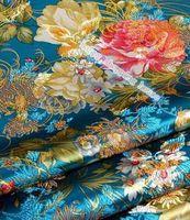 Wholesale m width cm Brocade cloth costume Hanfu satin dress dress fabric cloth brocade blue bottom gold Peony