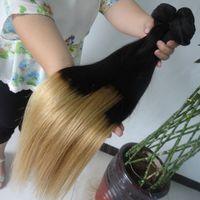 NOUVEAU Deux tonalité Ombre Colorent les extensions de cheveux humains 6A droite Cheveux bruns de cheveux de la Vierge Remy Weave de cheveux 3 / 4pcs Lot 8-30 pouces
