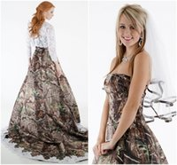 Wholesale 2015 Lace Camo Wedding Dresses Strapless with Hollow Lace Top Long Sleeve Chapel Train Two Pieces Spring Camouflage Bridal Gowns