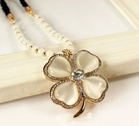clover necklace - Clover Necklace Korea Style Long Black Beaded Chain Clear Rhinestone Heart Cat s Eye Four Leaf Clover Necklace