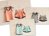 kids sweat suits - 2015 New Summer Children Clothes Kids Outfits Sets Vest Shorts Pieces Cotton Sports Sweat Suit Tracksuit Clothing Pink Blue Gray