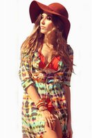 Wholesale 2015 New Summer Beach Dress Casual Long sleeved Sunscreen Wild breasted Beach Sarong Cover Up Dress Sexy Bohemian Floral Chiffon Dress