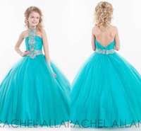 Cheap Communion dress 2015 Ball Gown little Kids Crystal Halter Tulle Girl Pageant Dress For Cheap Flower Girl Dresses Special occasion
